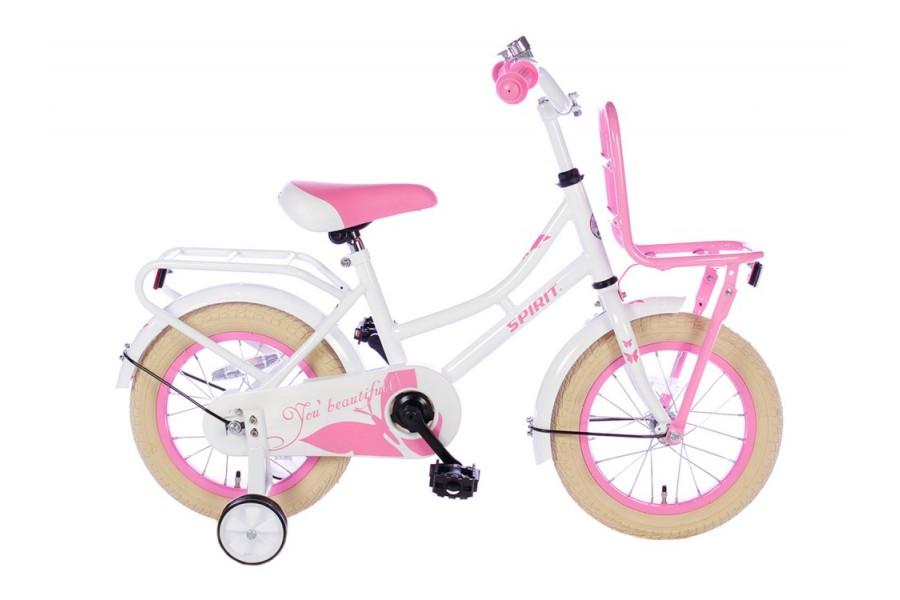 Spirit Omafiets Wit-Roze Meisjesfiets 14 inch