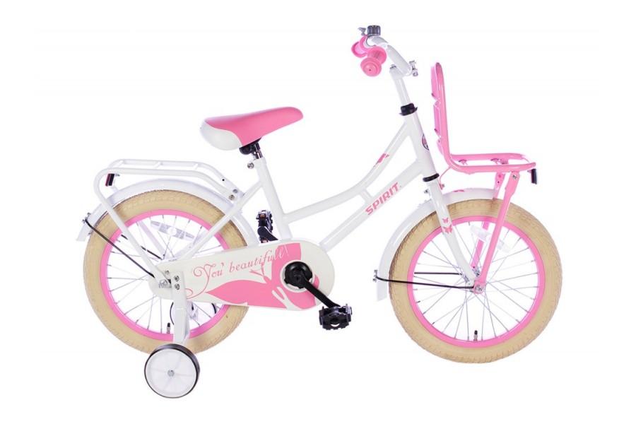 Spirit Omafiets Wit-Roze Meisjesfiets  16 inch